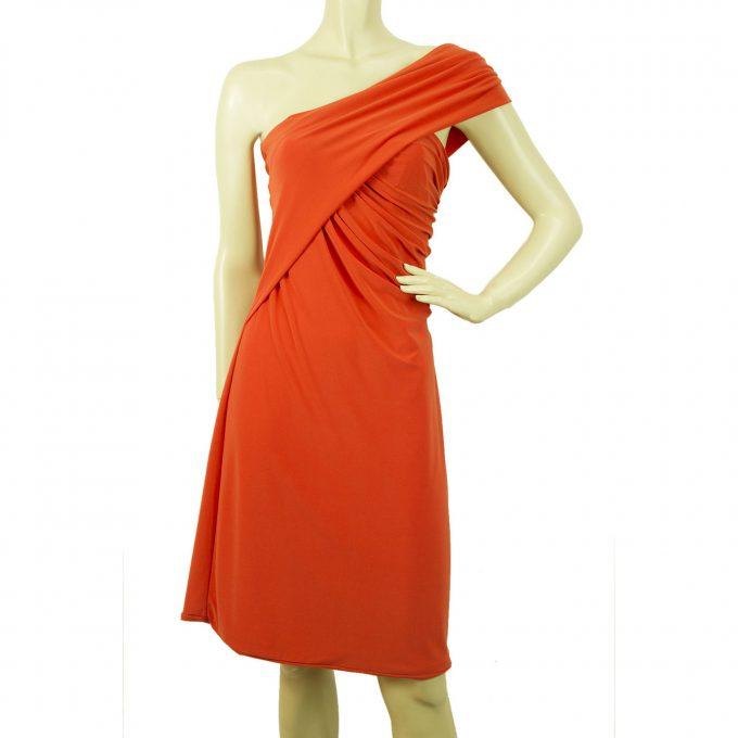 5226 by Cilia Kritharioti Orange One Shoulder Draped Knee Length Dress sz 44