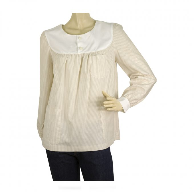 A.P.C. Beige White Striped Cotton Tunic Shirt Top Blouse w. Pockets size M