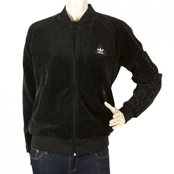 Adidas Pharrell Williams Hu Black Velour Jacket Zipper Closure Top Size UK 10 S
