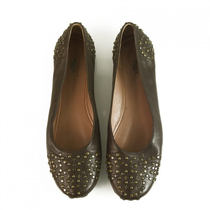 Alaia Brown Leather Brass Tone Studded Ballerina Shoes Ballet Flats 36.5