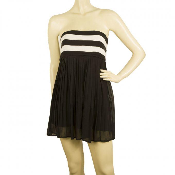 Alice + Olivia Black & White Silk Strapless Long Top or Super Mini Dress size XS