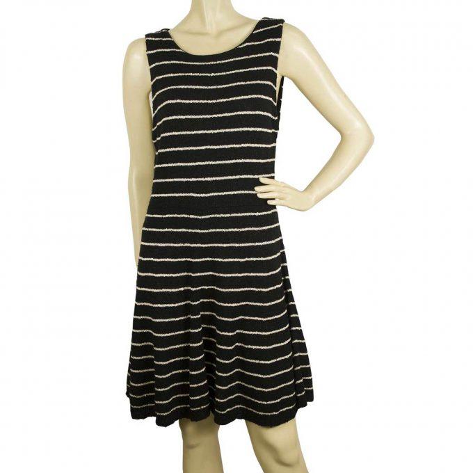 Alice + Olivia Black w. white Stripes Cotton Wool Skater Style Knit Dress sz L