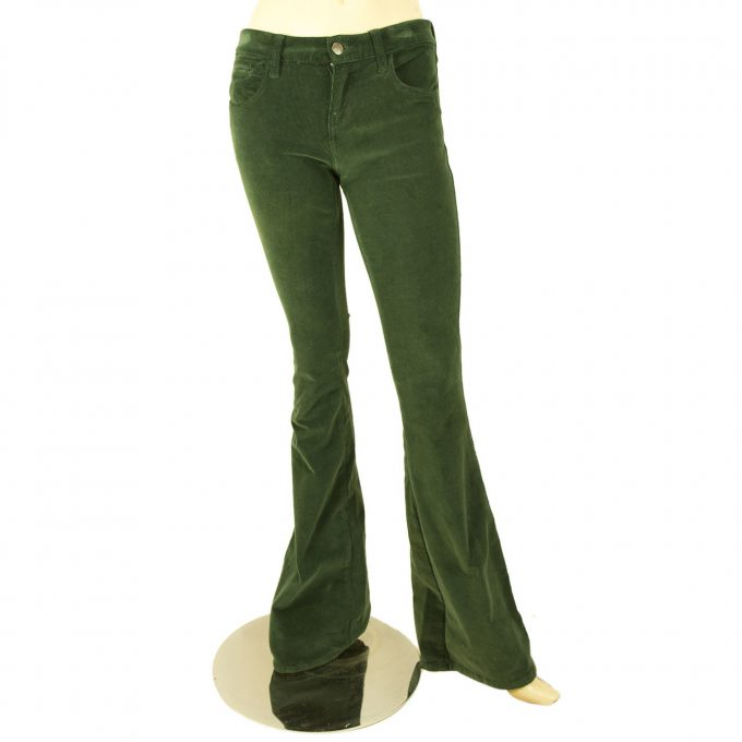 American Retro Dark Green Flare Leg Corduroy Cords Trousers Pants sz 25