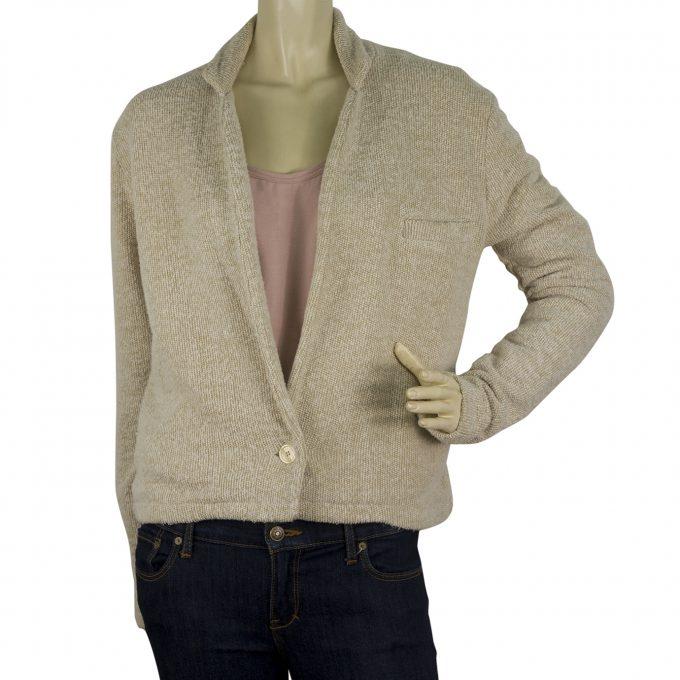 American Vintage Beige Melange single button Cotton Summer Cardigan jacket sz M