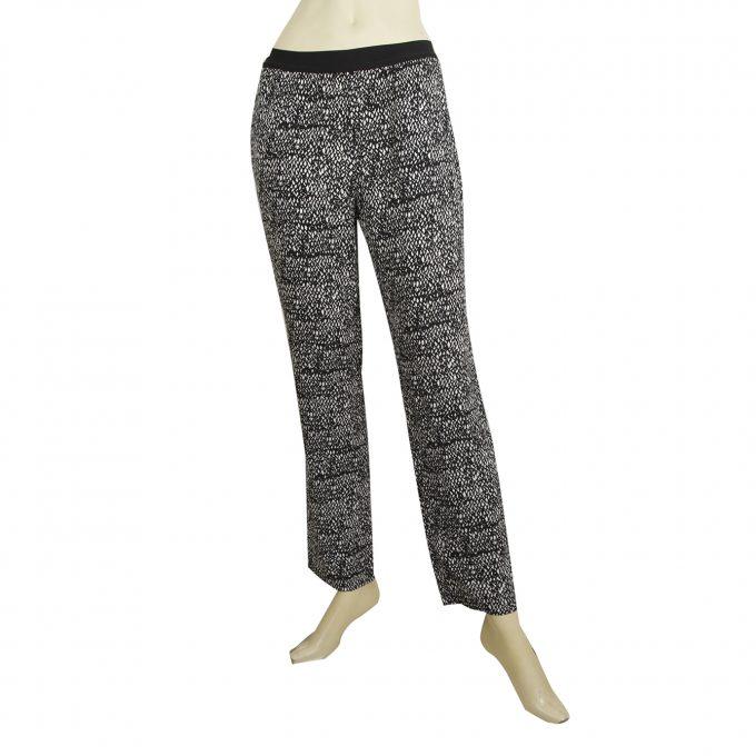 American Vintage Black & White Viscose Elastic Waist Trousers Pants Size S