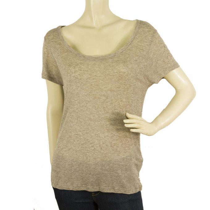 American Vintage Beige Melange Woolen T-Shirt Top Basic Casual Blouse Size S