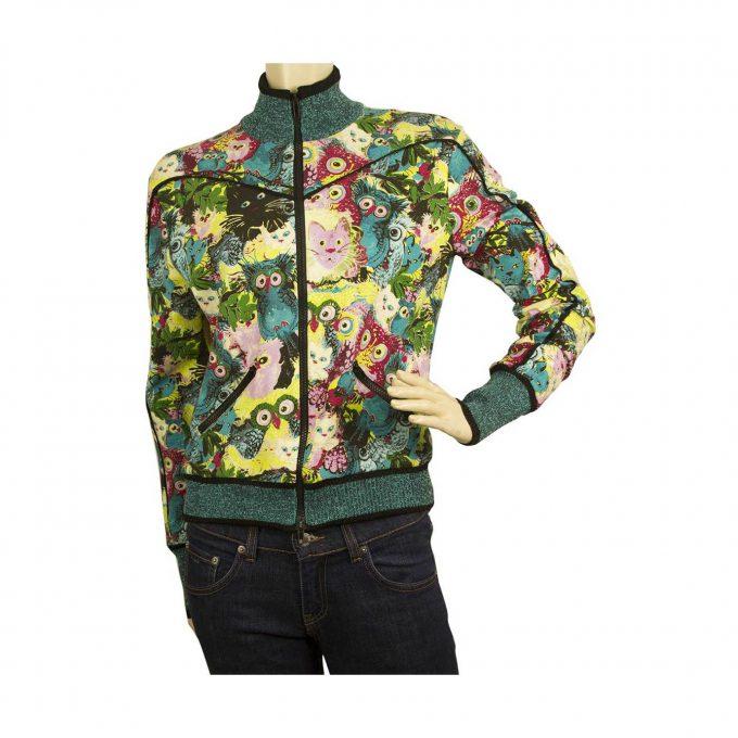 Angelo Marani Glam Cats and Owls Short Bomber Like Style Zippered Jacket size 46