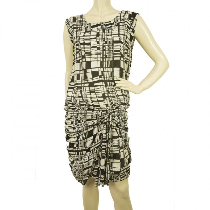 Anna Molinari Geometrical Printed Black White Silk Draped mini Dress