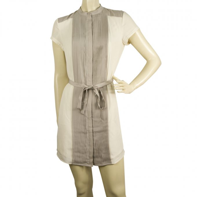 Armani Exchange White Gray Small Pleats Belted Mini Length Shirt dress size 0