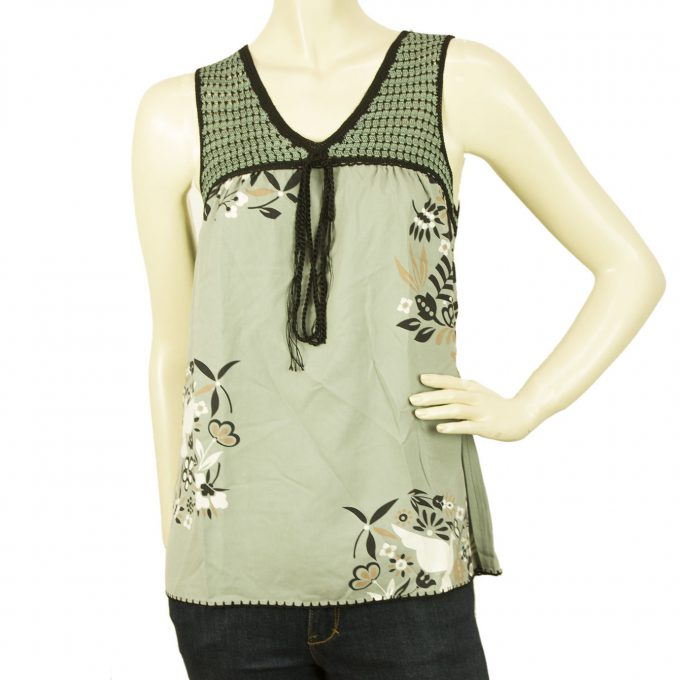 BCBG Max Azria Green Gray 100% Silk V Neck Floral Sleeveless Blouse Top size XS