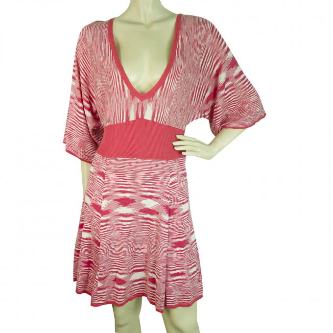 BCBG Maxazria Fuchsia White Striped V Silk Cotton Knit Tunic Mini Dress size L