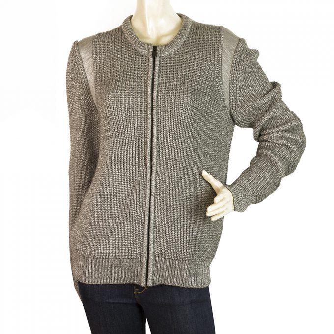 Balenciaga Gray w. Metallic Shine Wool Blend Knit Zipper Cardigan Cardi size 40