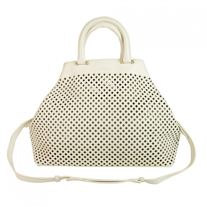 BALLY white perforated leather oversized hobo hand bag shoulder bag w. pochette