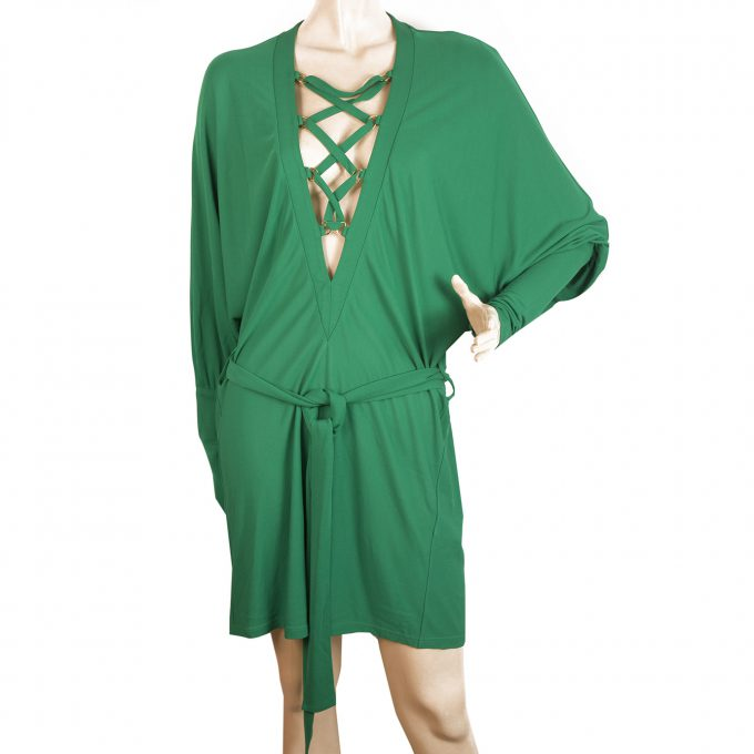 Balmain Green Criss Cross Deep V Neckline Dolman Sleeve Mini Length Dress 36