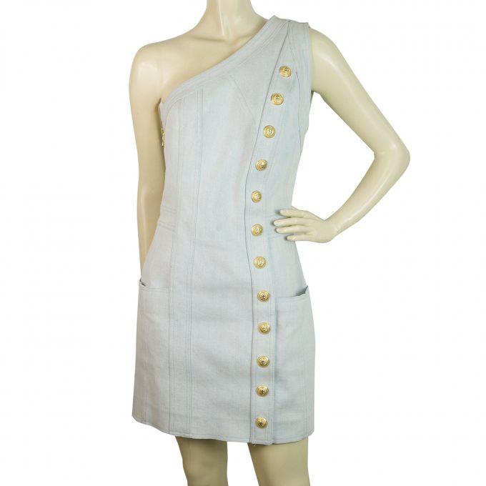 Balmain Washed Denim Jeans Gold Buttons One Shoulder Mini Length Dress size 38