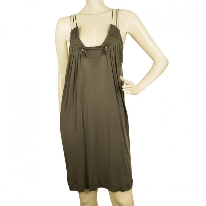 Bui de Barbara Bui Khaki Spaghetti Straps Viscose Mini Dress size 38