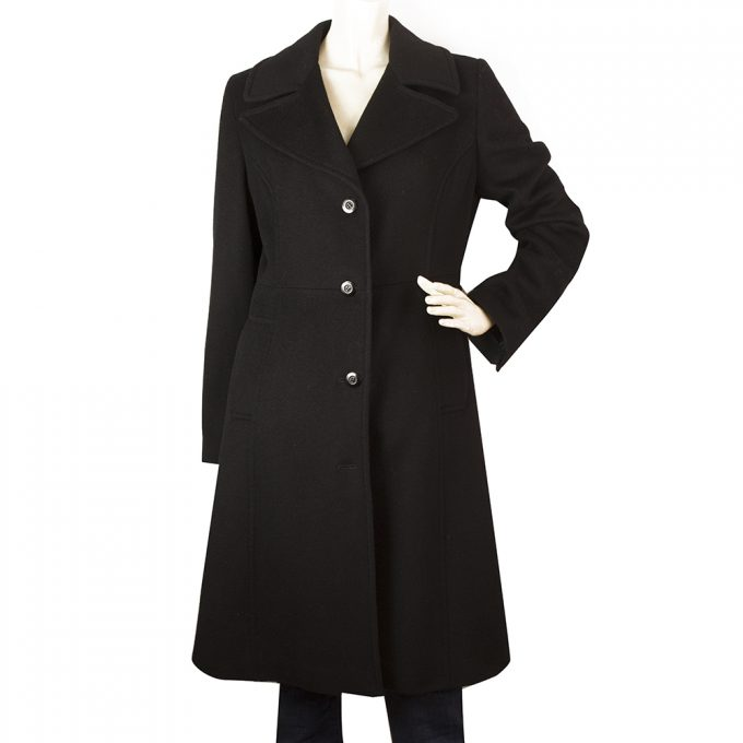 Bill Blass Black Angora Wool A Line Classic Warm Winter Coat size 8