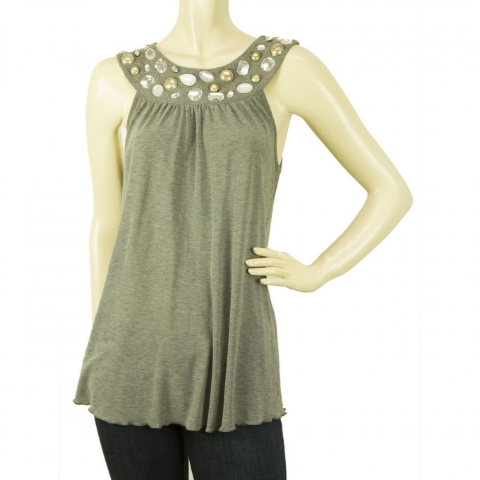 Blugirl Blumarine Romantic Gray Beaded Cami Tank Vest Sleeveless Top sz 42