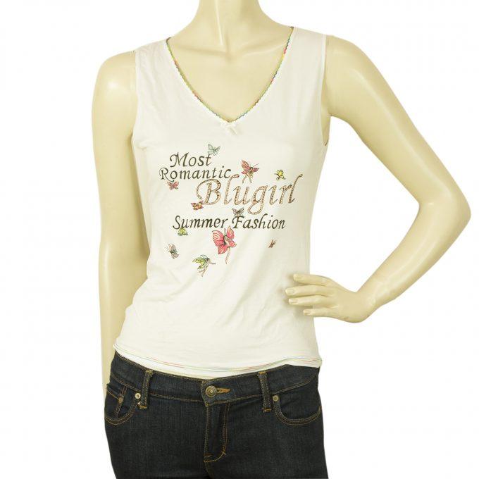Blugirl Jeans Butterflies Romantic V Neck Cami Tank Vest Sleeveless Top sz 42