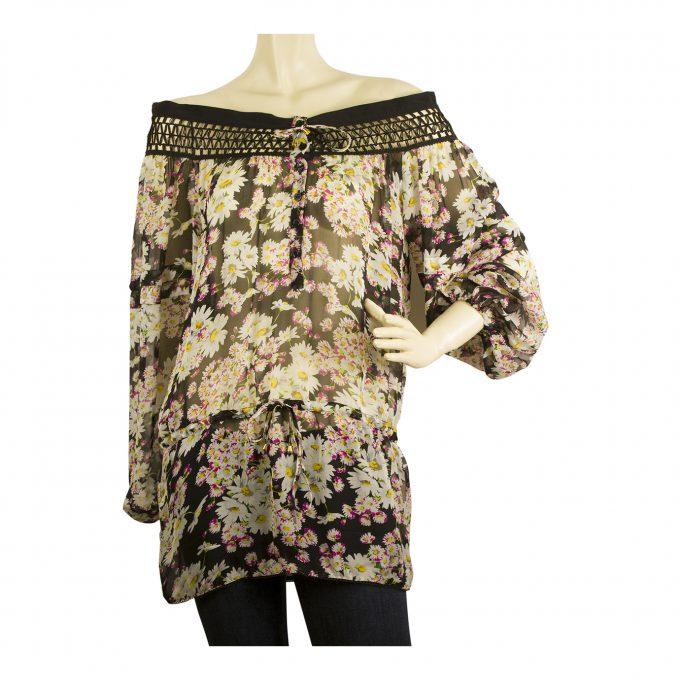 Blumarine Romantic Floral Print Sheer Tunic Blouse off Shoulder Long Top sz 38