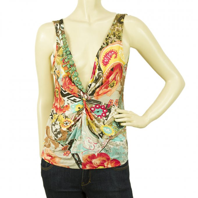 Blumarine Floral Paisley Beaded Multicolored Tank Vest Sleeveless Top sz 44