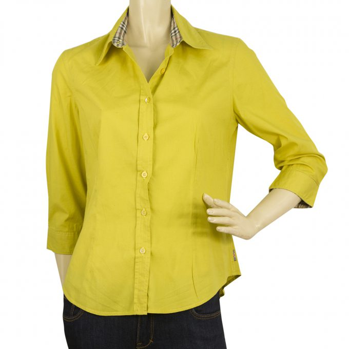 Burberry London Lime Yellow 3/4 sleeves Top Button Down Shirt Blouse sz S