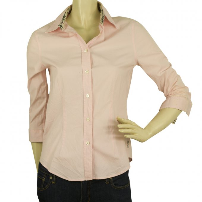 Burberry London Pink 3/4 sleeves Top Button Down Shirt Blouse sz S