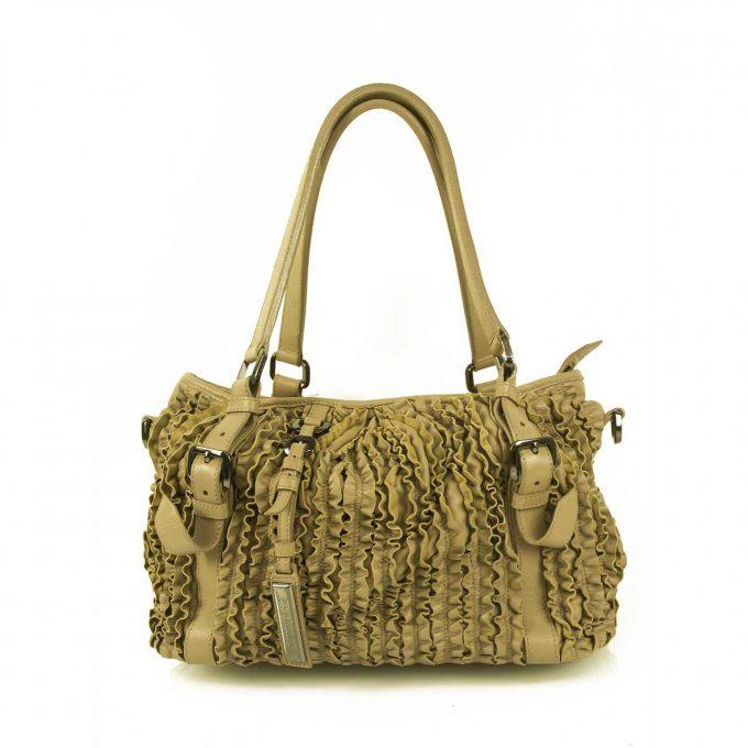 Burberry Taupe Leather Ruffle Bag Lowry Handbag Satchel Shopping tote