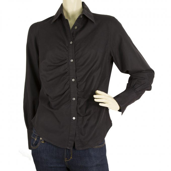 Burberry London Black Ruched Front Wide Cuffs Top Button Down Shirt Blouse sz M