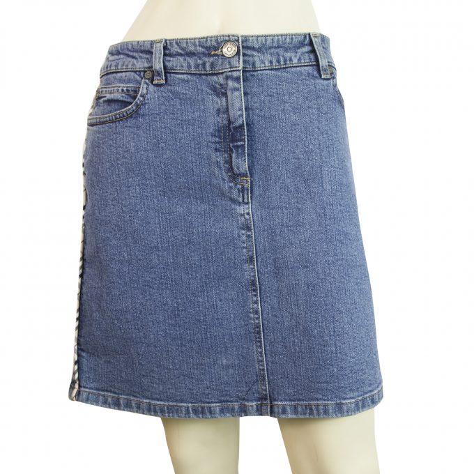 Burberry London Blue Denim Check Trimming Mini Skirt size UK 10 US 8