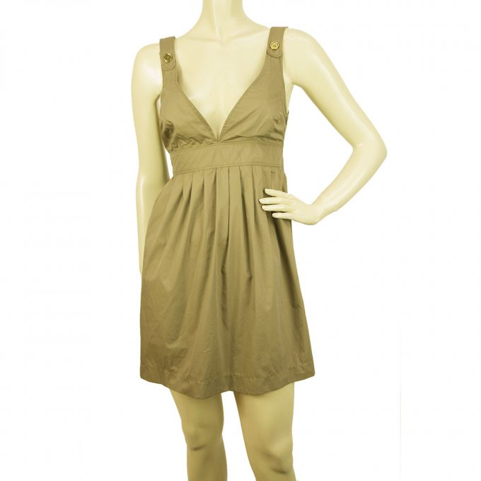 Burberry London Mini Length Khaki Beige Sleeveless Summer Dress Size 40