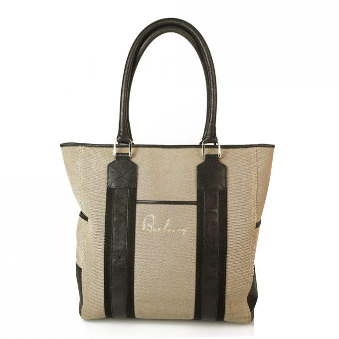 Burberry Beige/Gray canvas & Black Leather Trim Handbag Tote Large Shopper bag
