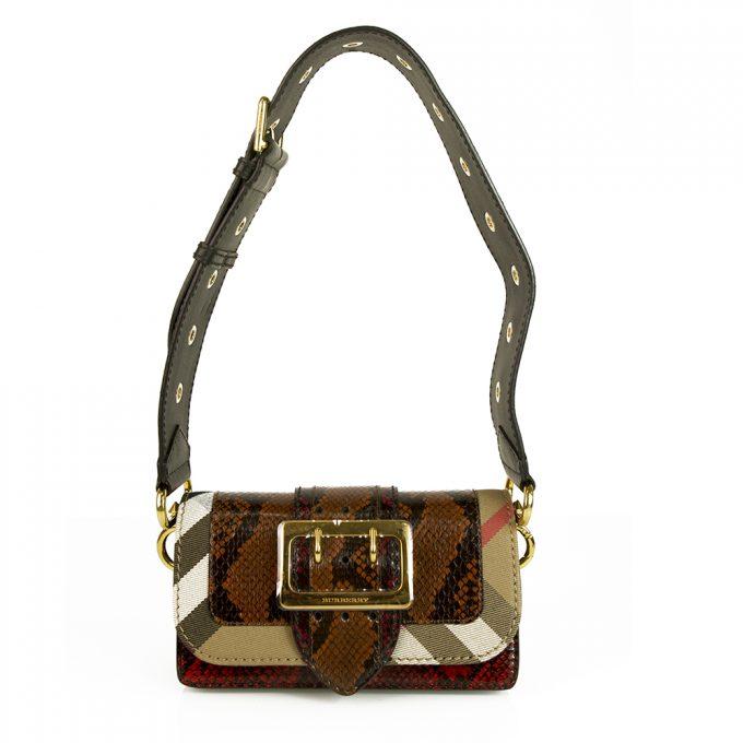 "Burberry Patchwork ""The Clandon"" one of a kind bag python snakeskin & check bag"