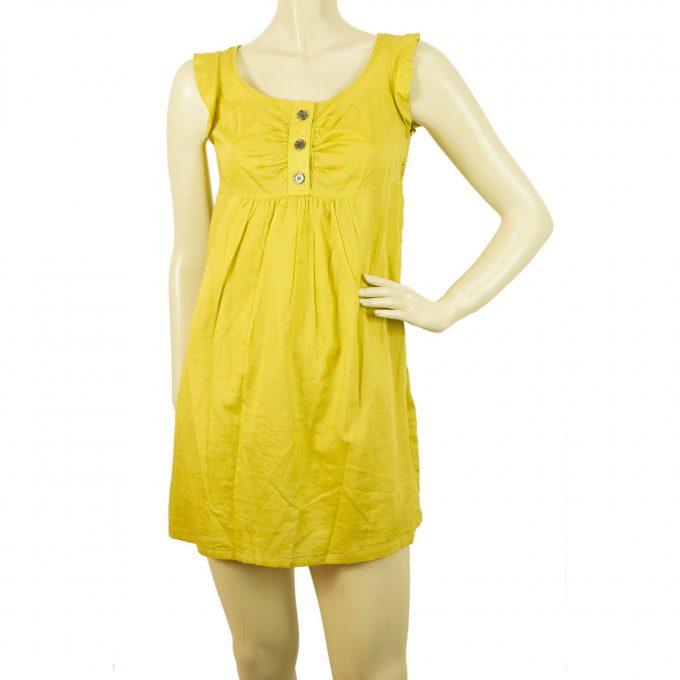 Burberry London Mini Length Mustard Ochre Sleeveless Cotton Summer Dress