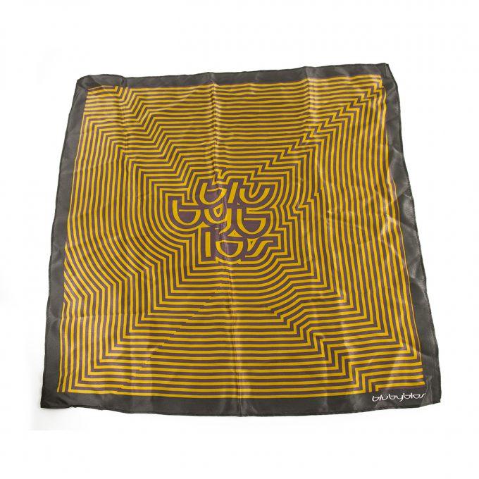 Blu Byblos Mustard Yellow Purple Gray Geometric Print Silk Foulard Scarf