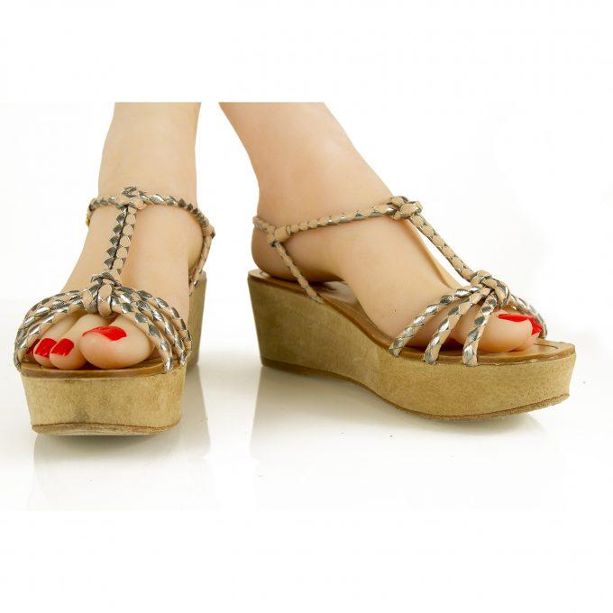 Car Shoe Beige Nude Silver Leather Wedge Sandal Platform Summer Shoes SZ 37