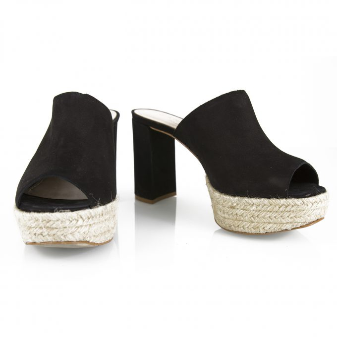 Carrano Brazil Black suede Jute Platform Open Toe Mules Slip On sz 37 shoes US 6