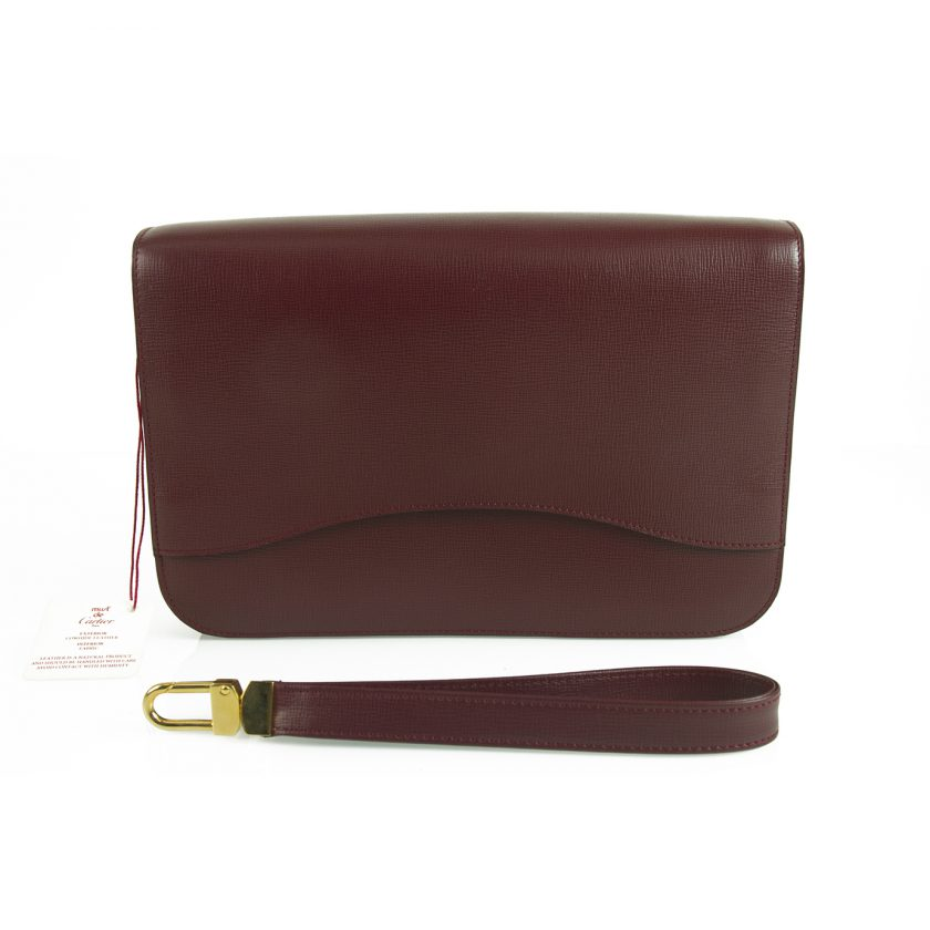 MUST DE CARTIER Burgundy calfskin Leather Wristlet Travel Toiletry Clutch Bag