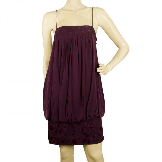 Catherine Malandrino Silk Purple Spaghetti Straps Mini Summer Dress size 6