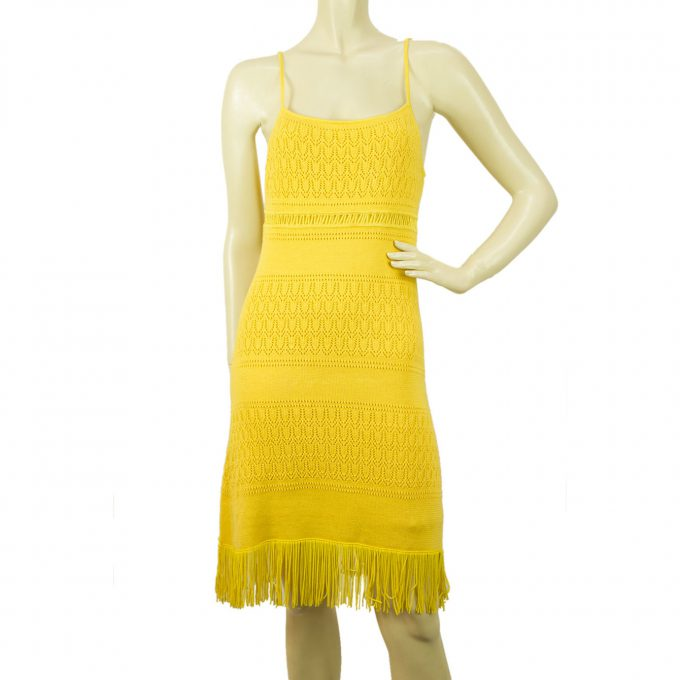 Catherine Malandrino Bright Yellow Cotton Knit Summer Dress w. Fringes size M
