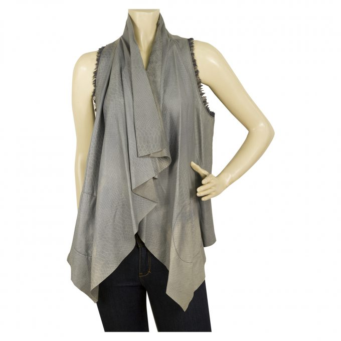 Catherine Malandrino Gray Leather Croco Waterfall Front Top Gillet Cardi vest 6