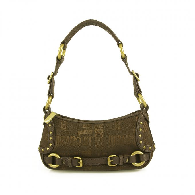 Just Cavalli Brown Monogram Canvas & Leather Brass Tone Hardware Shoulder Bag