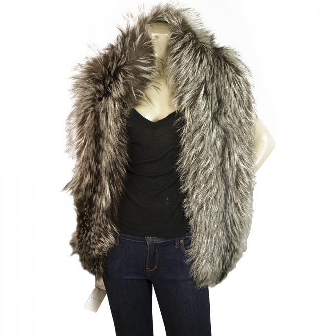 Celine Genuine Fur Renard Argente Silver Fox Silk Lining Long Scarf Shawl Wrap