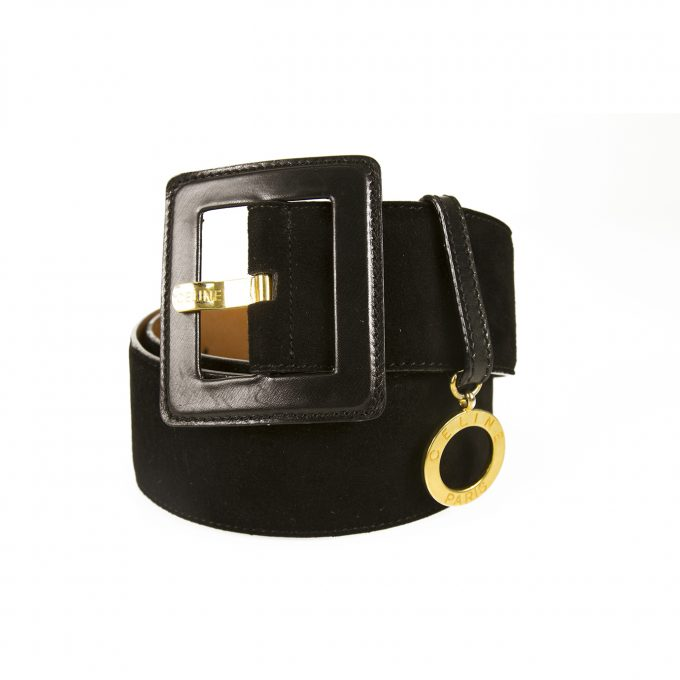 Celine Women's Black Suede Leather Belt Square Buckle Gold Tone Charm