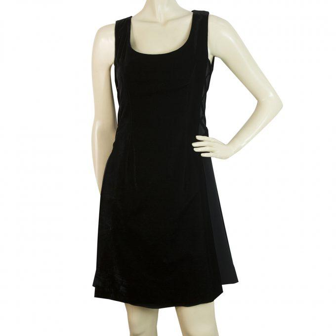 Celine Black Velvet Sleeveless Criss Cross Sides Mini Length Tank Dress Size 36