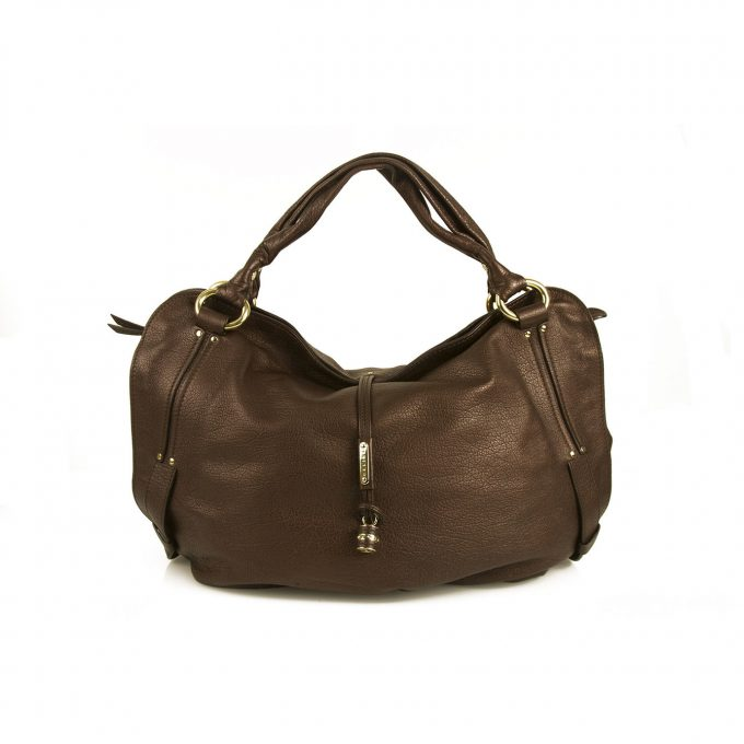 Celine Bittersweet Brown Pebbled Leather Large Hogo Shoulder Bag Handbag