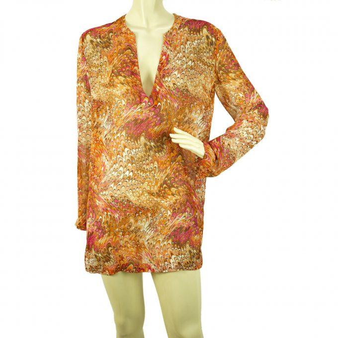 Celine psychedelic print multicolor caftan tunic long sleeve top silk blouse 40