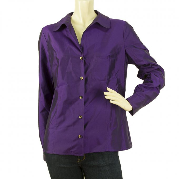 Celine Shiny Purple Button Down Shirt Top with Logo signature Buttons Sz 44