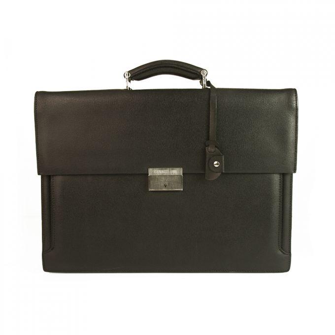 Cerruti 1881 Black Leather Men's Briefcase Go to Work Office Bag Handbag