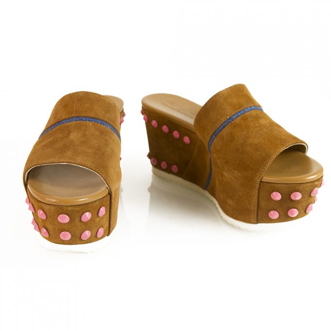 Cesare Paciotti 4US Brown Suede Pink Studs Flatforms Sandal Platform SZ 38 Shoes